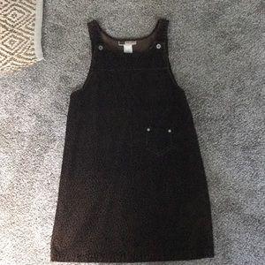 Subtle Cheeta Print Corduroy Overall Dress
